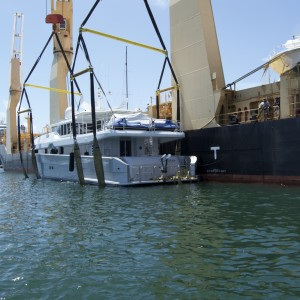 United Yacht Transport - M/Y Solaris Awaits Loading on the Tong An Cheng