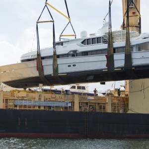 United Yacht Transport -  M/Y Solaris Being Loaded onto Tong An Cheng