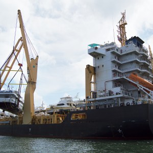 United Yacht Transport -  M/Y Solaris Being Craned Aboard the Tong An Cheng