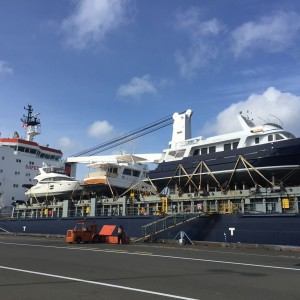 United Yacht Transport Vessel Loading in Victoria, Canada