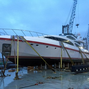United Yacht Transport - Strapped down 130' Mangusta in Ravenna, Italy